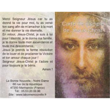 Carte de disciple de Jésus-Christ
