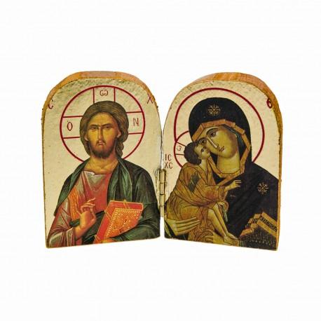 Mini icône double Jésus et Marie